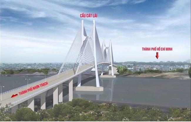 Cầu Cát Lái dài 4,5km, rộng 60m với 6 làn cơ giới và 2 hỗn hợp